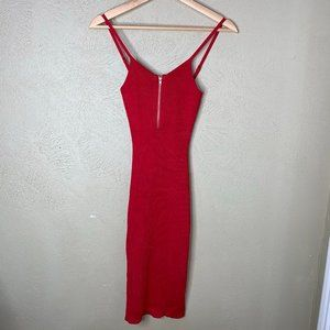 Awesome Ribbed Stretch Midi Bodycon Dress Red S